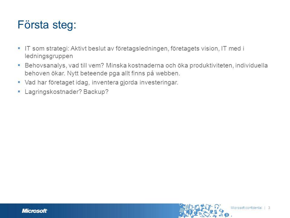Första steg: IT som strategi: Aktivt beslut av företagsledningen, företagets vision, IT med i ledningsgruppen.