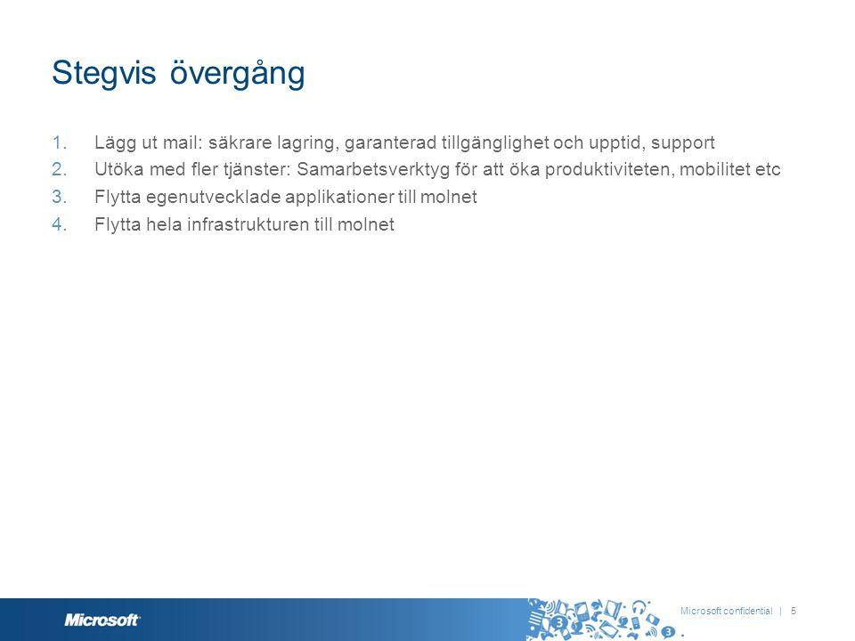 Stegvis övergång Lägg ut mail: säkrare lagring, garanterad tillgänglighet och upptid, support.