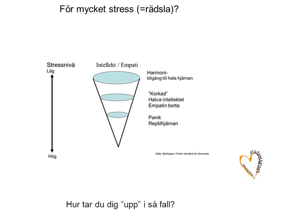 För mycket stress (=rädsla)