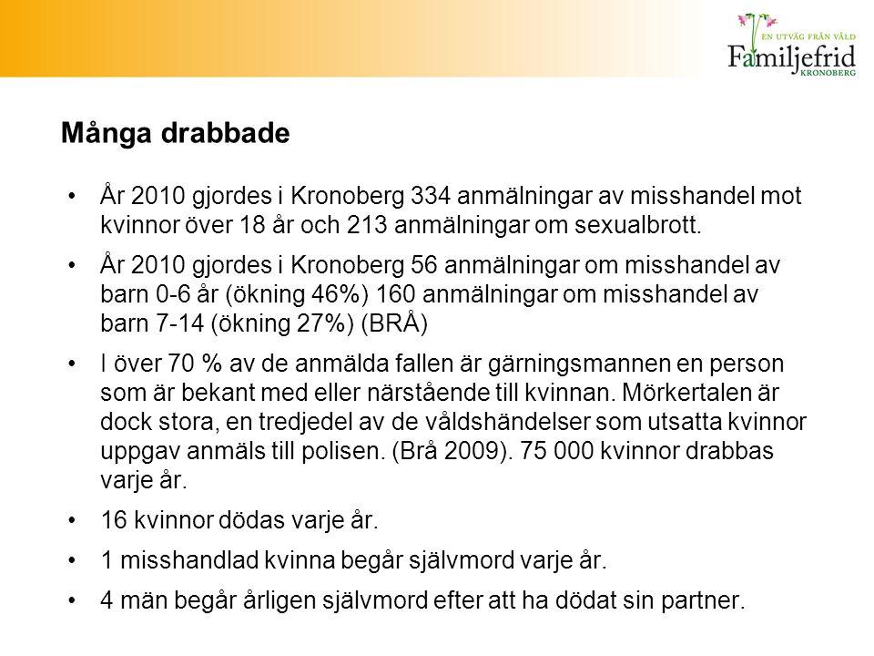 Många drabbade År 2010 gjordes i Kronoberg 334 anmälningar av misshandel mot kvinnor över 18 år och 213 anmälningar om sexualbrott.