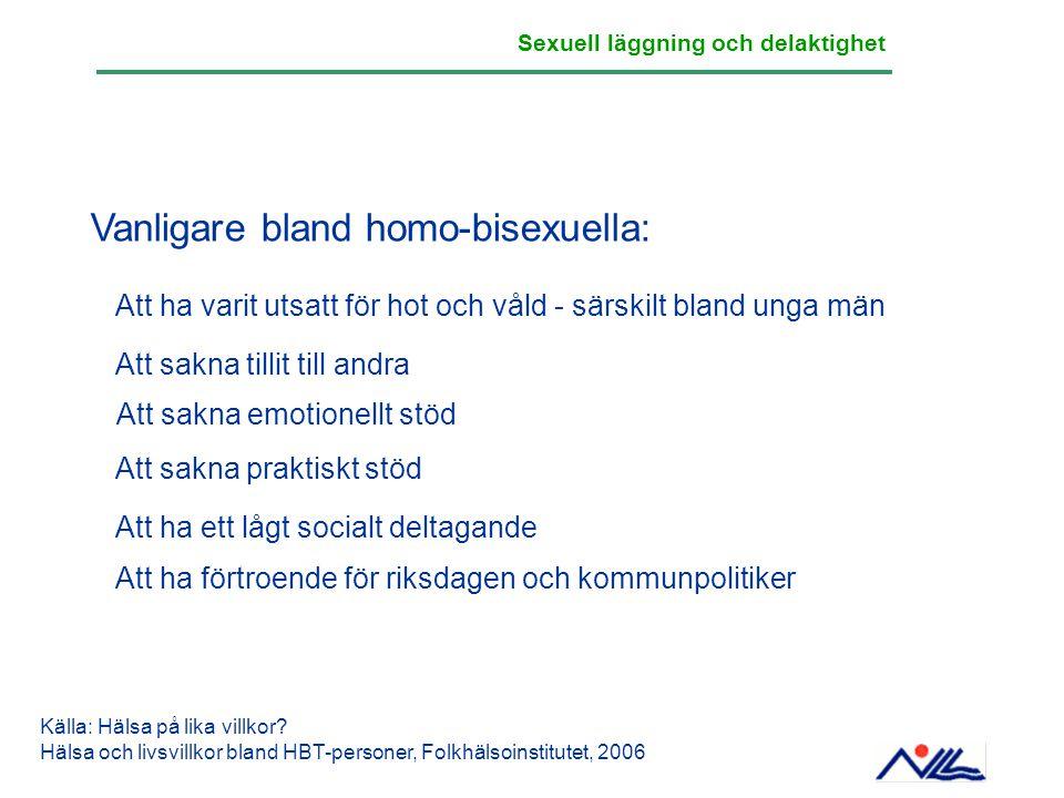 Vanligare bland homo-bisexuella: