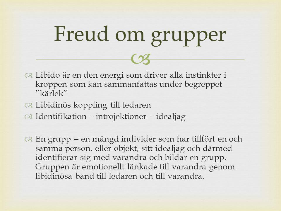 Freud om grupper Libido är en den energi som driver alla instinkter i kroppen som kan sammanfattas under begreppet kärlek