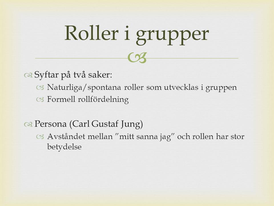 Roller i grupper Syftar på två saker: Persona (Carl Gustaf Jung)