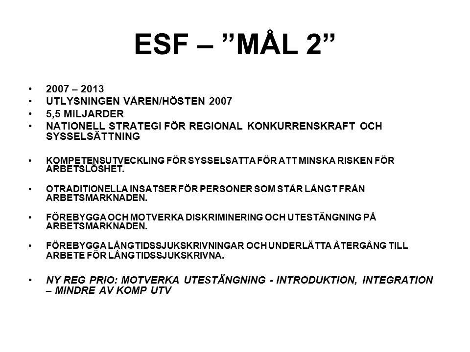 ESF – MÅL 2 2007 – 2013 UTLYSNINGEN VÅREN/HÖSTEN 2007 5,5 MILJARDER