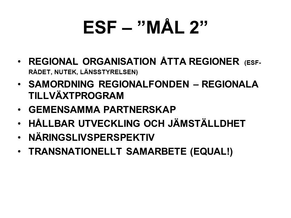 ESF – MÅL 2 REGIONAL ORGANISATION ÅTTA REGIONER (ESF-RÅDET, NUTEK, LÄNSSTYRELSEN) SAMORDNING REGIONALFONDEN – REGIONALA TILLVÄXTPROGRAM.
