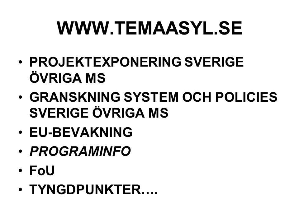 WWW.TEMAASYL.SE PROJEKTEXPONERING SVERIGE ÖVRIGA MS