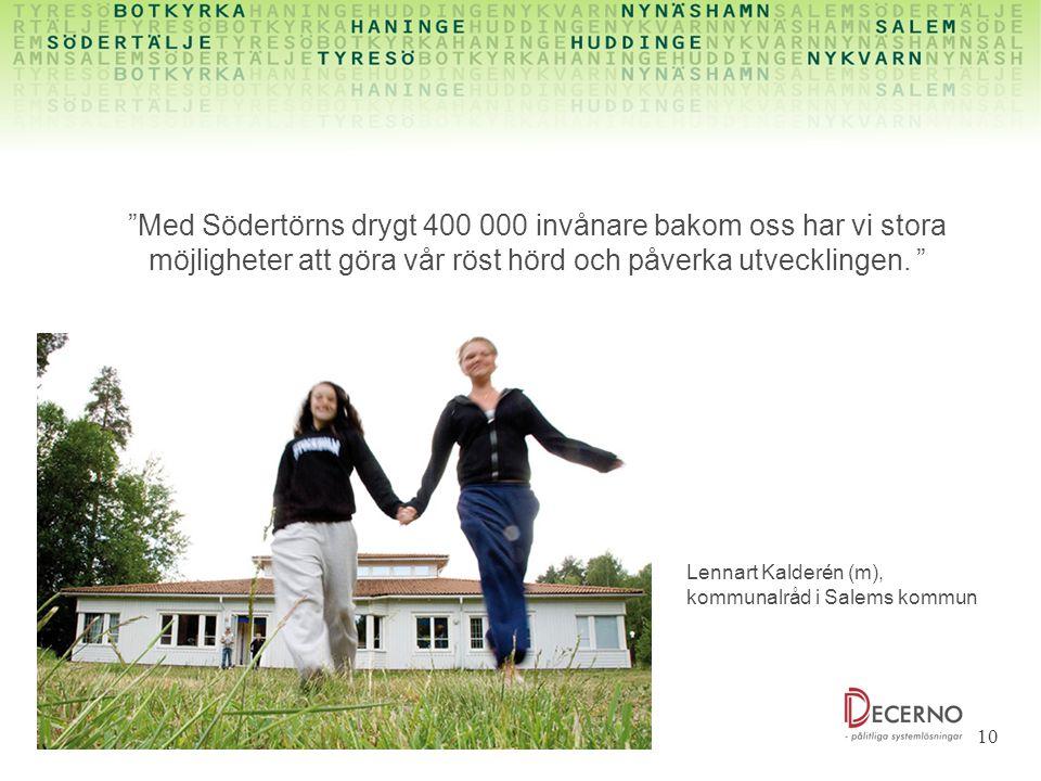 Med Södertörns drygt 400 000 invånare bakom oss har vi stora möjligheter att göra vår röst hörd och påverka utvecklingen.