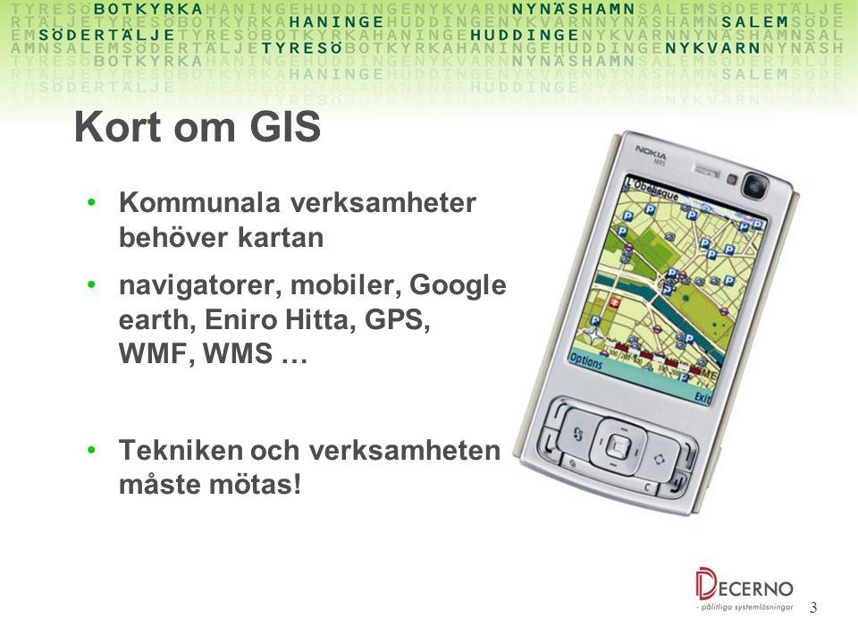 Kort om GIS Kommunala verksamheter behöver kartan