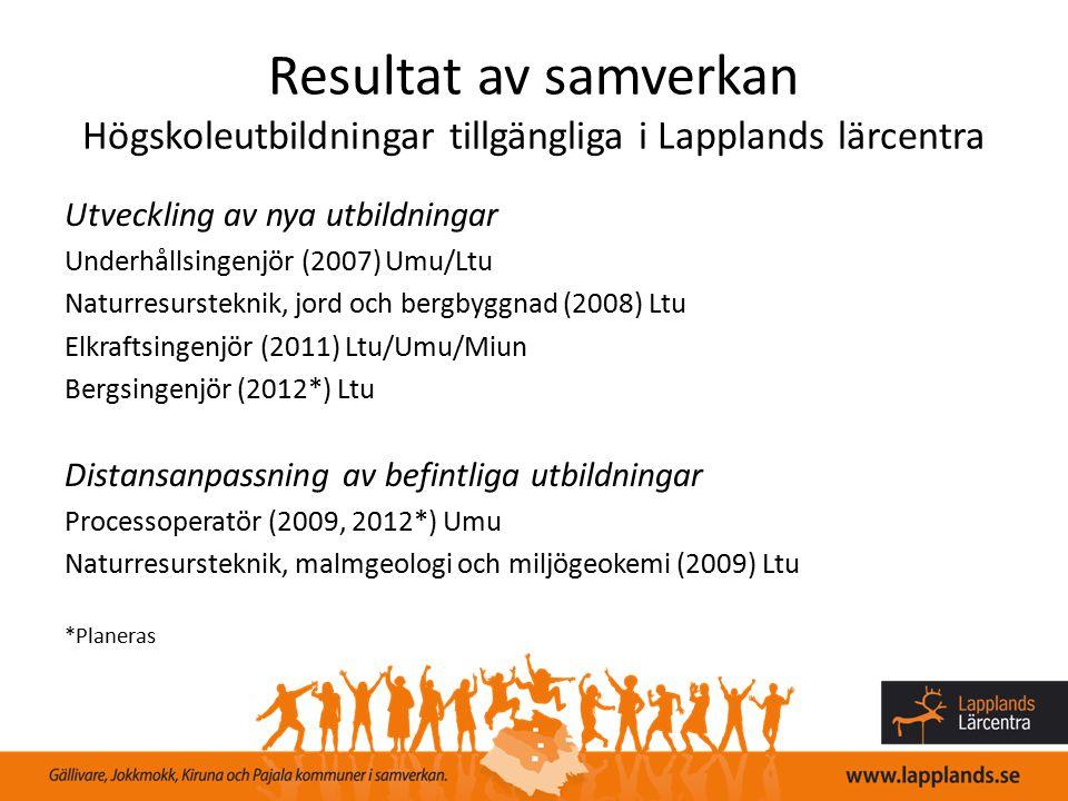 Resultat av samverkan Högskoleutbildningar tillgängliga i Lapplands lärcentra