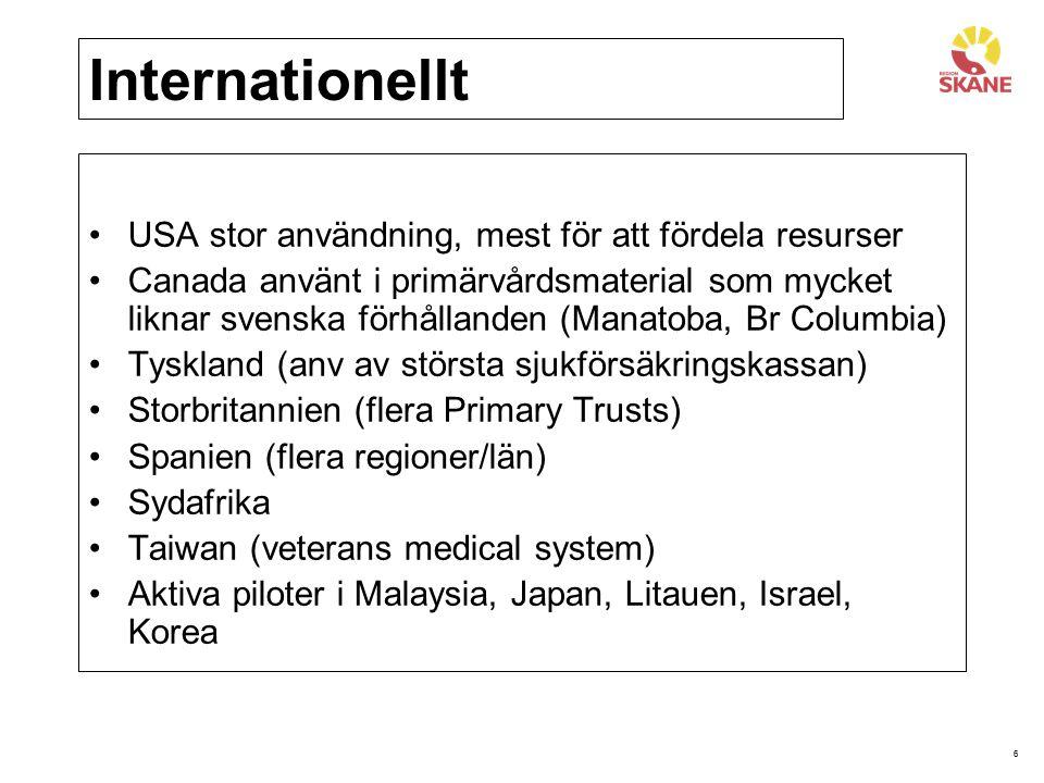 Internationellt USA stor användning, mest för att fördela resurser
