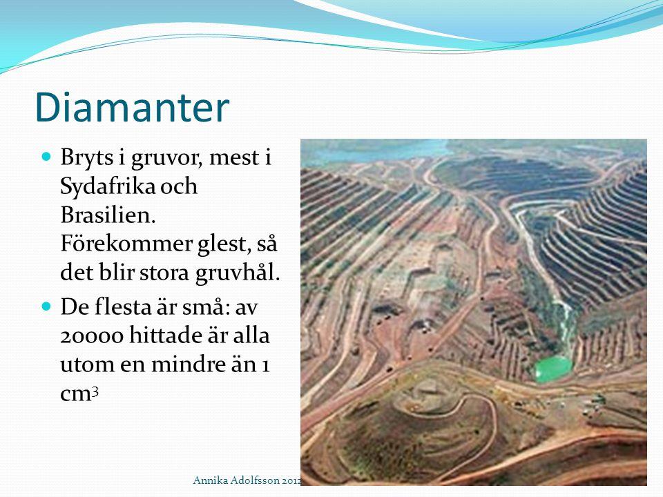 Diamanter Bryts i gruvor, mest i Sydafrika och Brasilien. Förekommer glest, så det blir stora gruvhål.