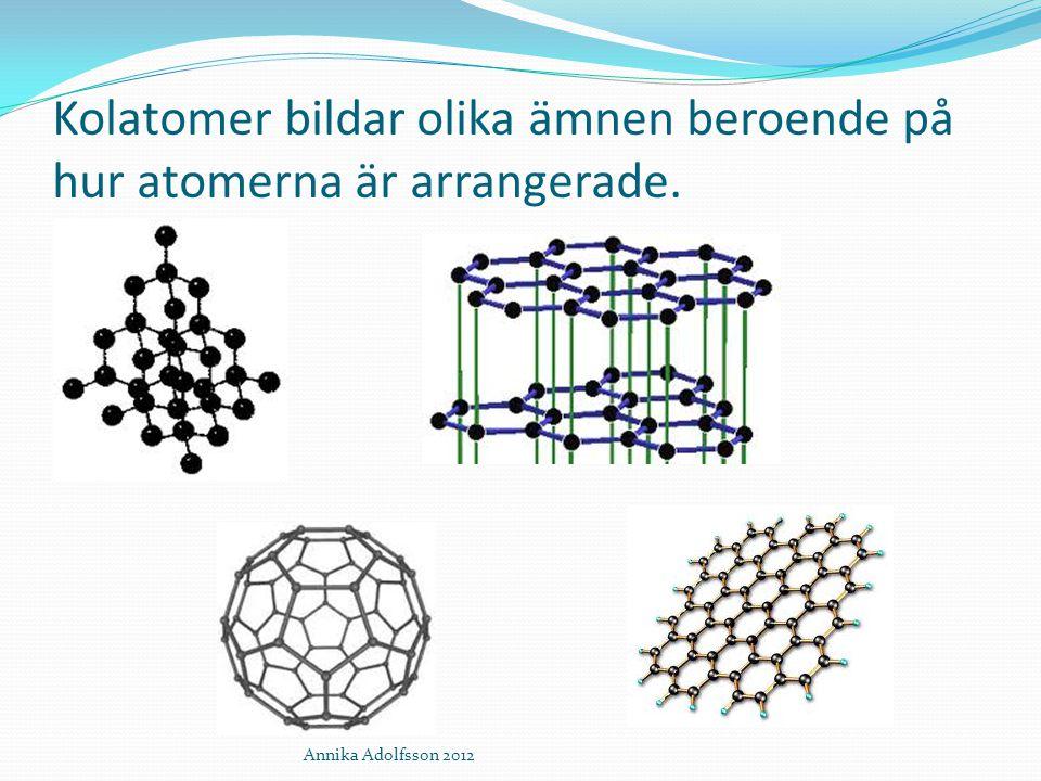 Kolatomer bildar olika ämnen beroende på hur atomerna är arrangerade.