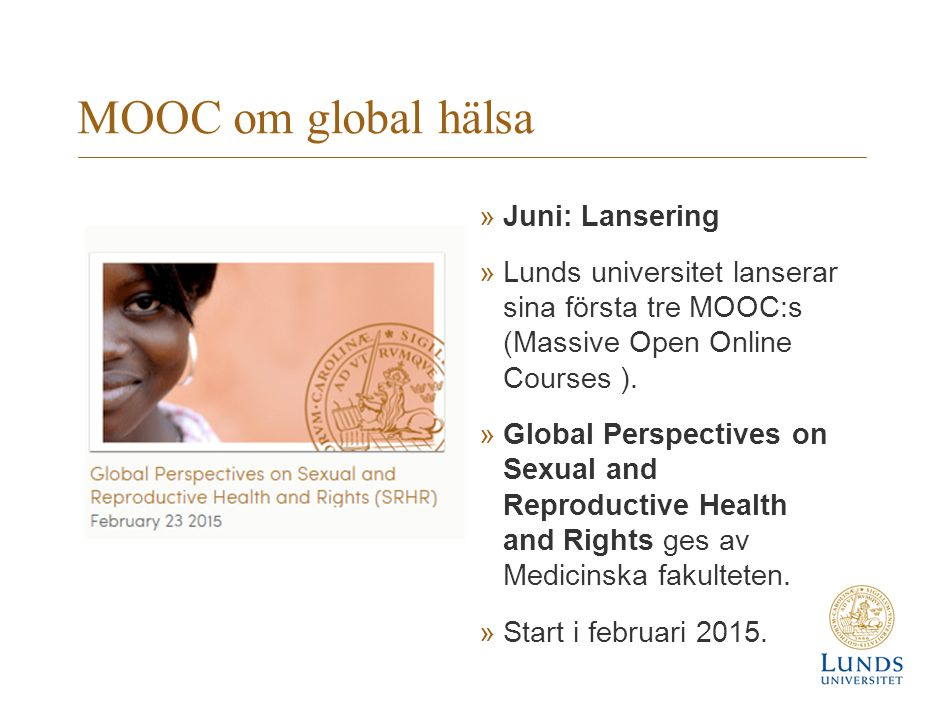 MOOC om global hälsa Juni: Lansering