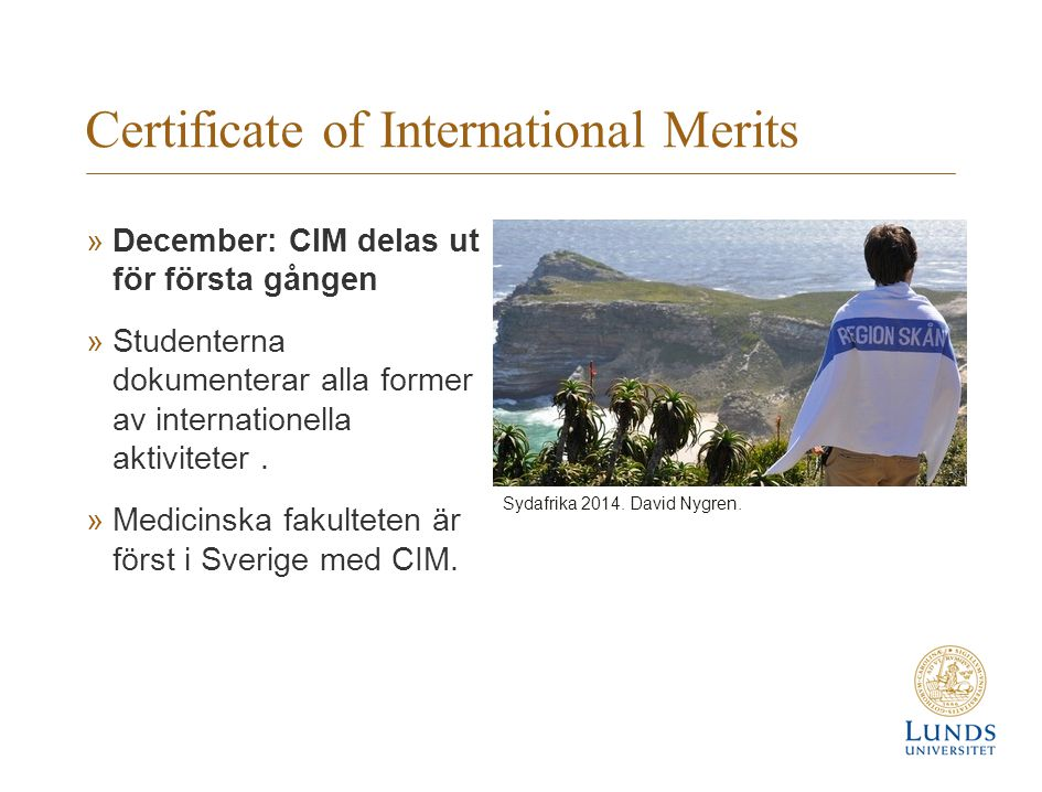 Certificate of International Merits