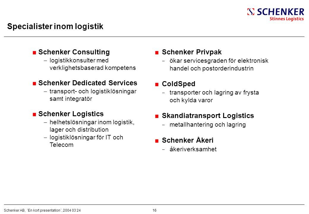 Specialister inom logistik