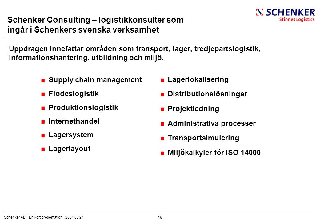 Schenker Consulting – logistikkonsulter som