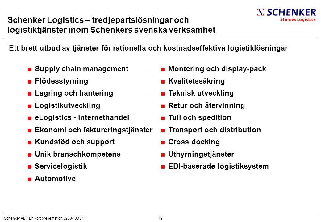 Schenker Logistics – tredjepartslösningar och logistiktjänster inom Schenkers svenska verksamhet