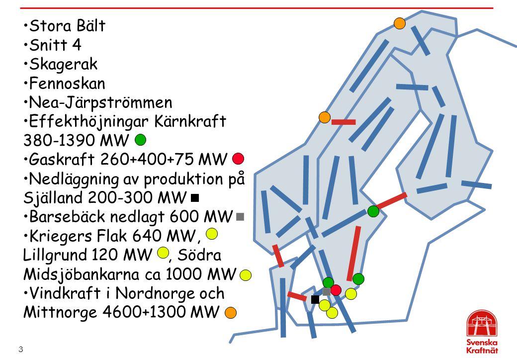 Stora Bält Snitt 4. Skagerak. Fennoskan. Nea-Järpströmmen. Effekthöjningar Kärnkraft 380-1390 MW.