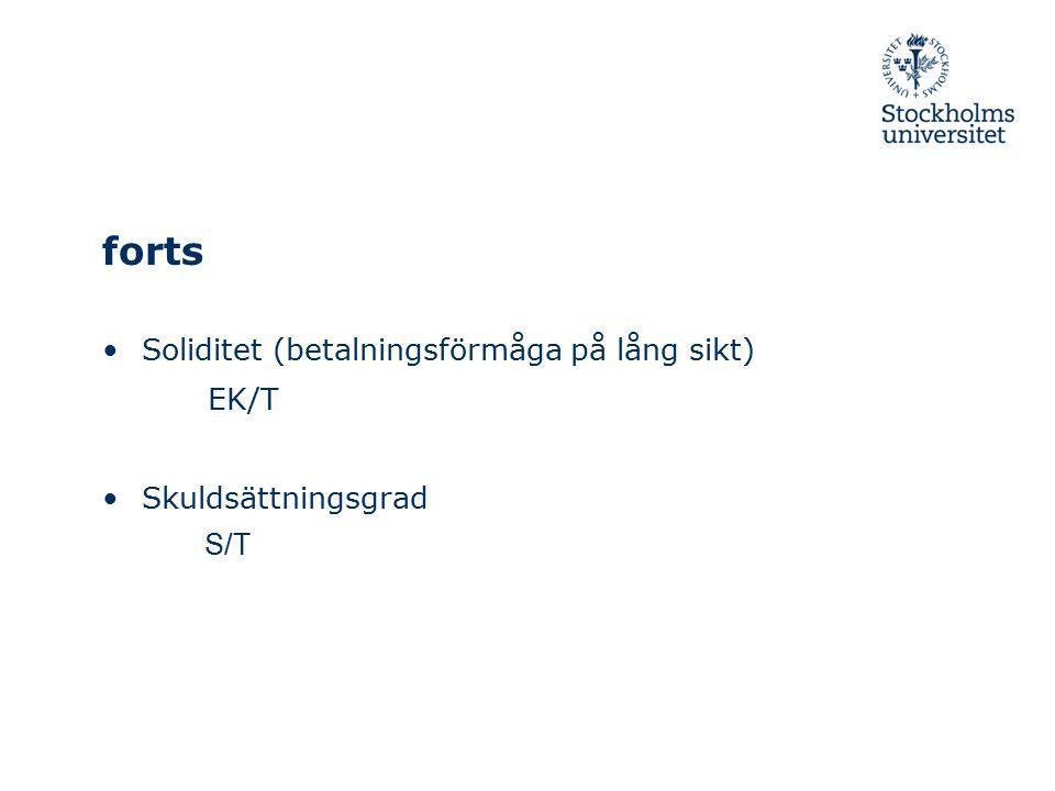 forts Soliditet (betalningsförmåga på lång sikt) EK/T