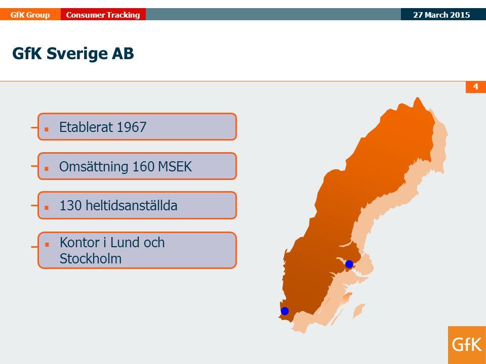 GfK Sverige AB Etablerat 1967 Omsättning 160 MSEK 130 heltidsanställda