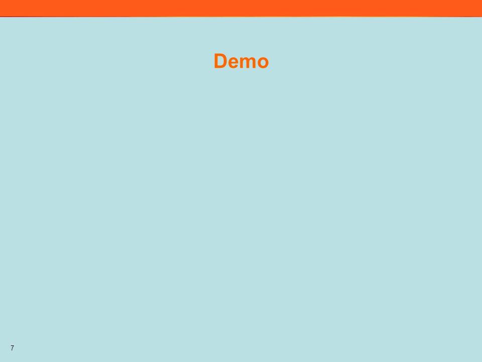 Demo Demo på menyn/gränssnittet