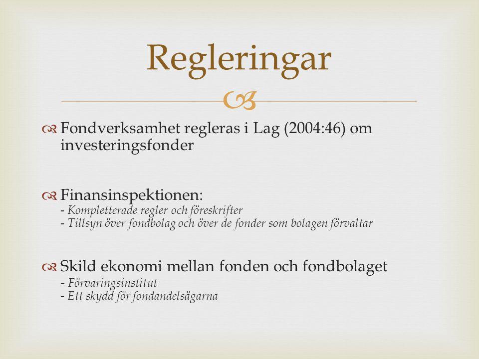 Regleringar Fondverksamhet regleras i Lag (2004:46) om investeringsfonder.