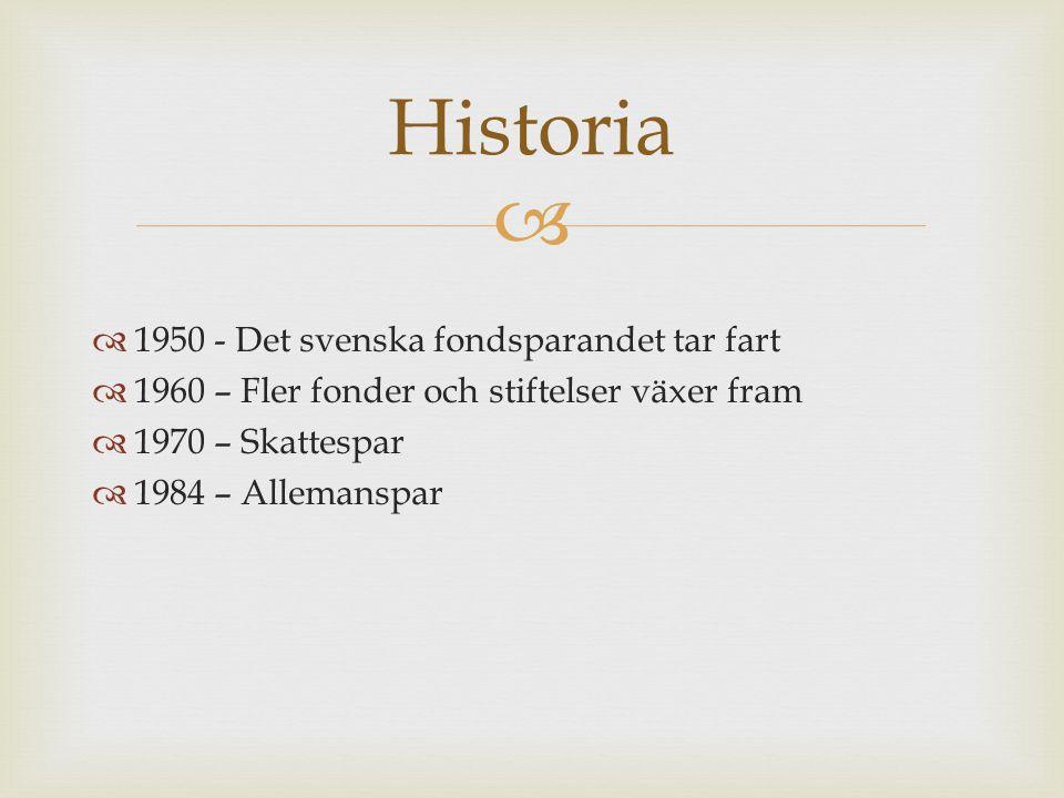 Historia 1950 - Det svenska fondsparandet tar fart