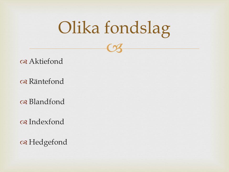 Olika fondslag Aktiefond Räntefond Blandfond Indexfond Hedgefond