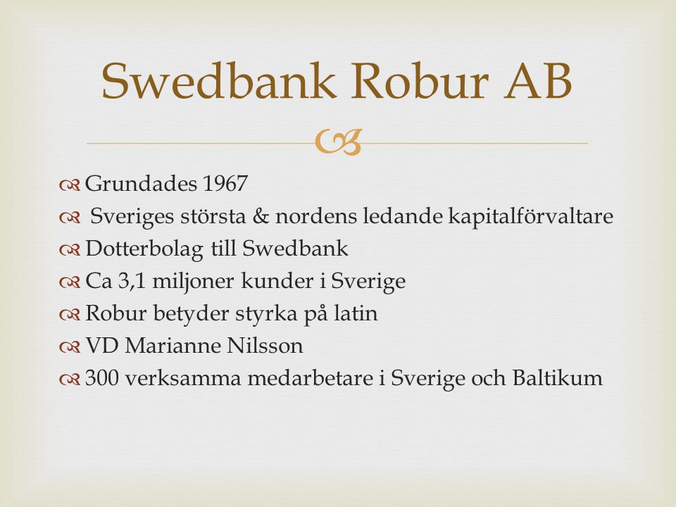 Swedbank Robur AB Grundades 1967
