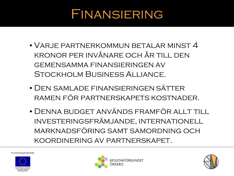 Finansiering Varje partnerkommun betalar minst 4 kronor per invånare och år till den gemensamma finansieringen av Stockholm Business Alliance.