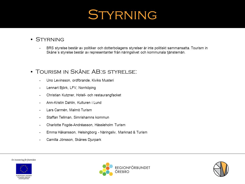 Styrning Styrning Tourism in Skåne AB:s styrelse: