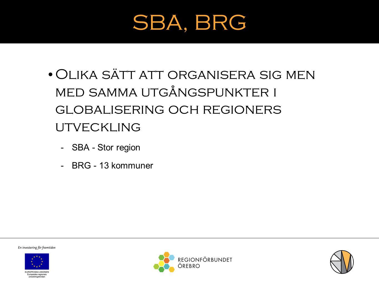 SBA, BRG Olika sätt att organisera sig men med samma utgångspunkter i globalisering och regioners utveckling.