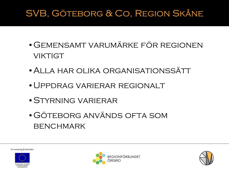 SVB, Göteborg & Co, Region Skåne