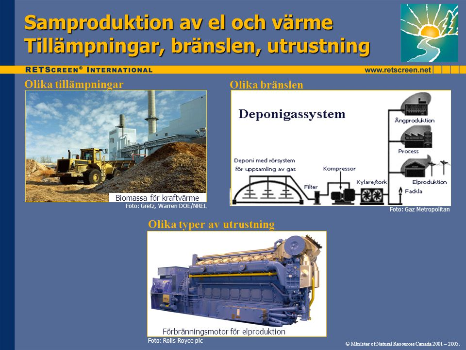 Samproduktion av el och värme Tillämpningar, bränslen, utrustning