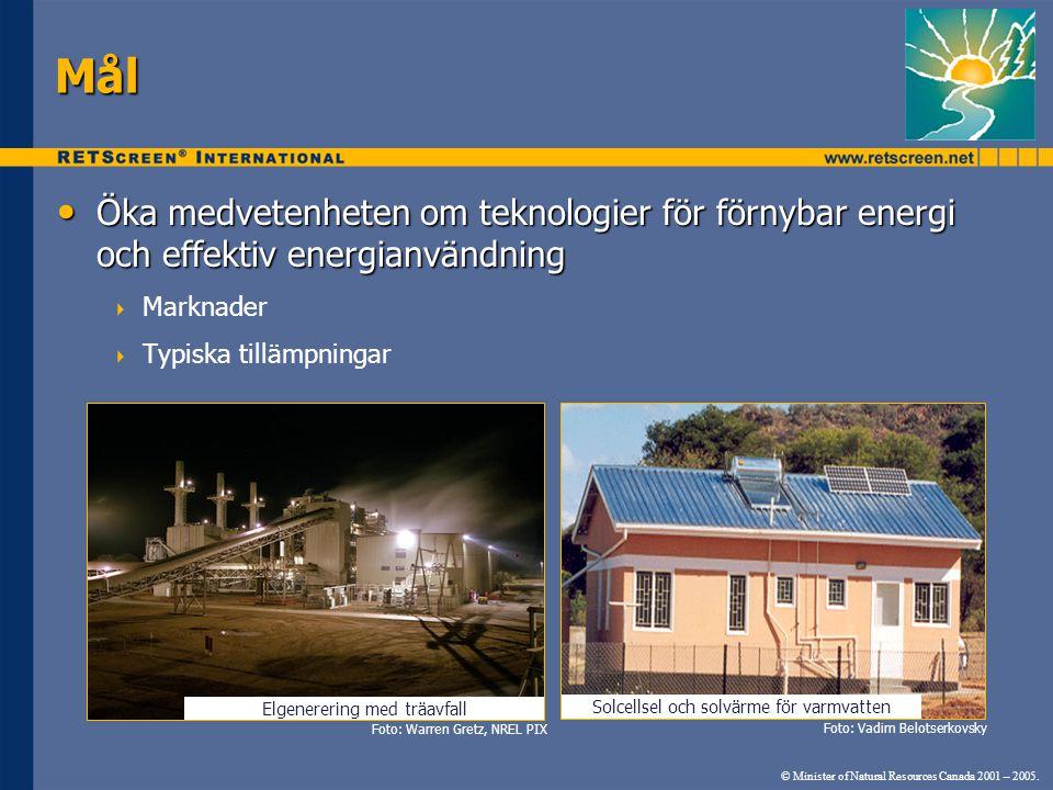 Mål Öka medvetenheten om teknologier för förnybar energi och effektiv energianvändning. Marknader.
