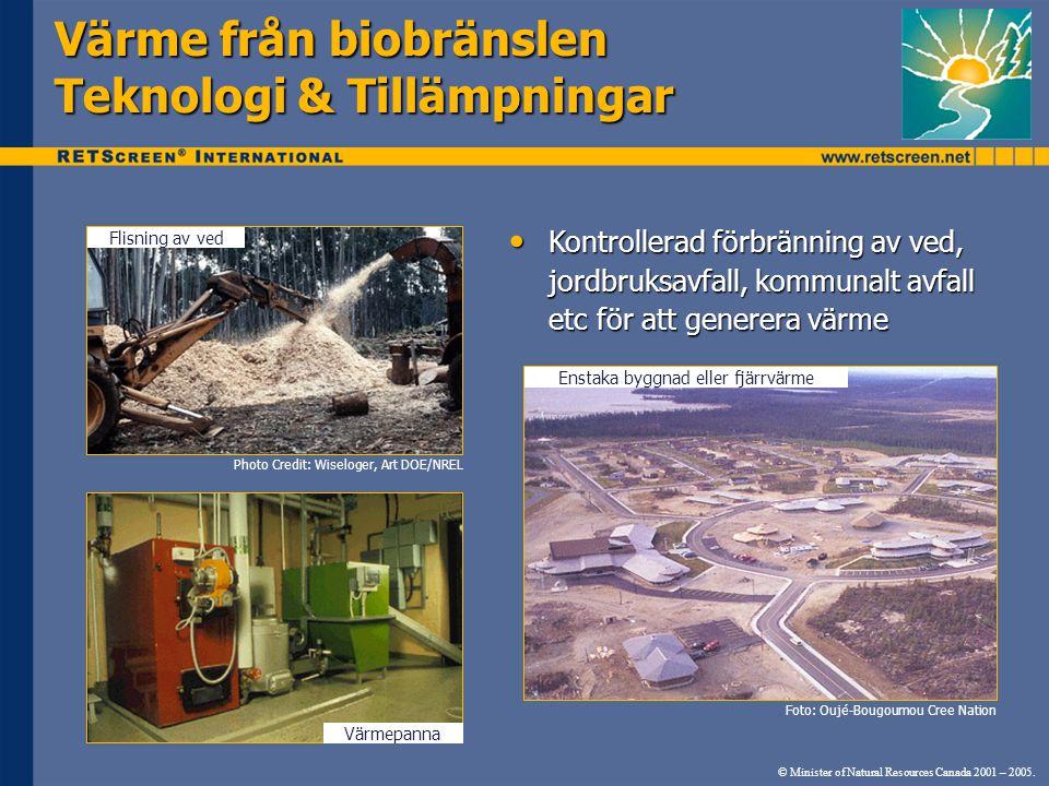 Värme från biobränslen Teknologi & Tillämpningar
