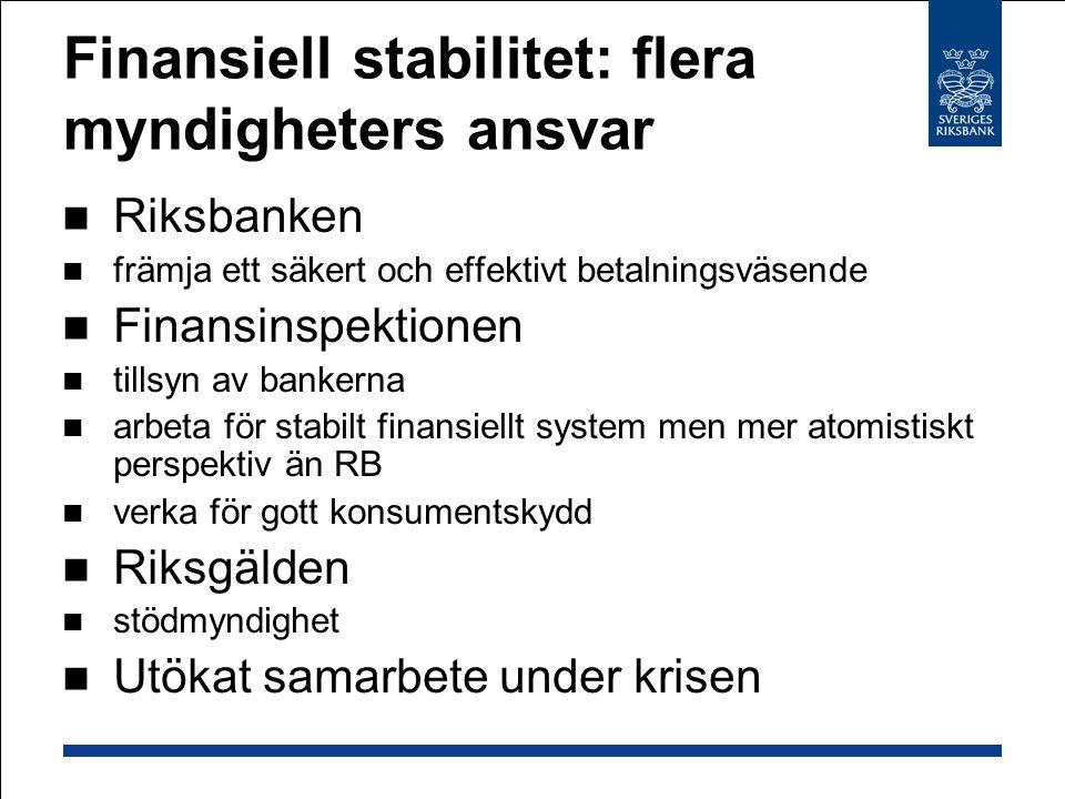 Finansiell stabilitet: flera myndigheters ansvar