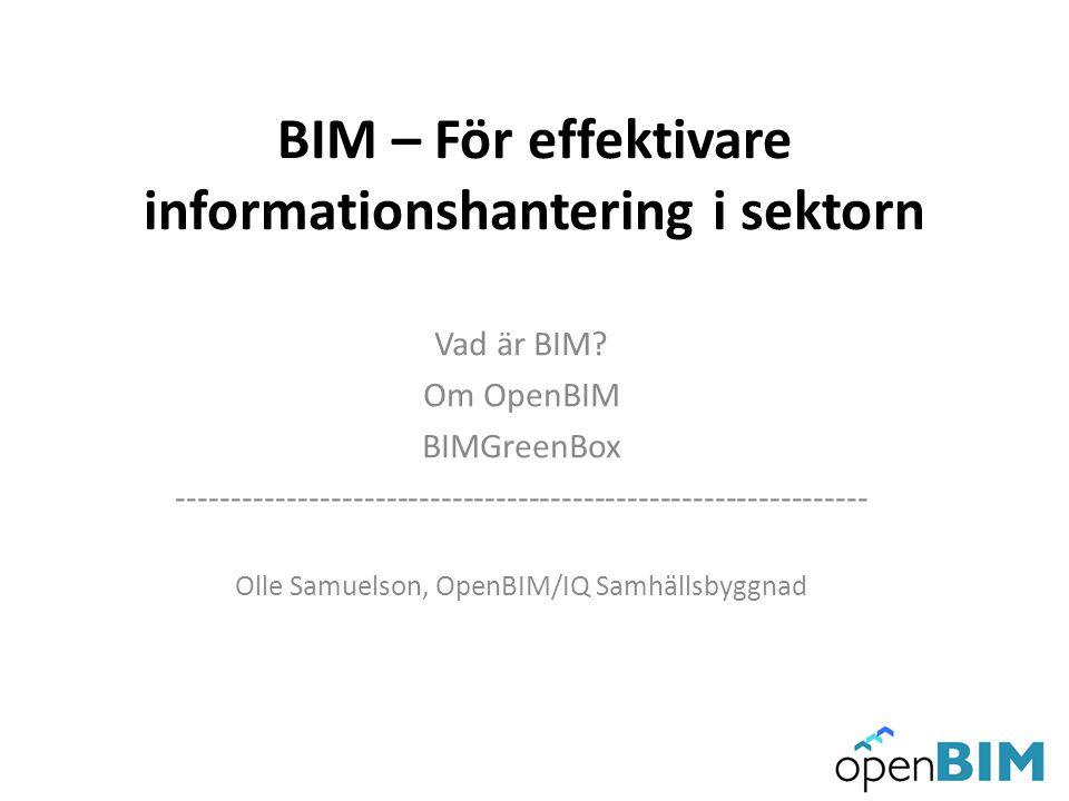 BIM – För effektivare informationshantering i sektorn