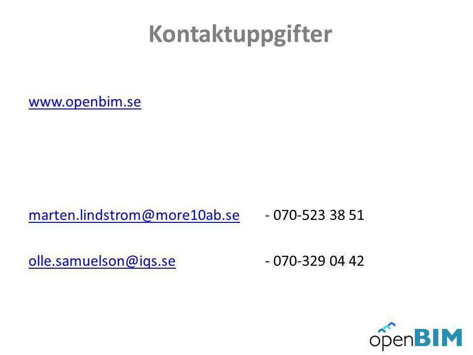 Kontaktuppgifter www.openbim.se