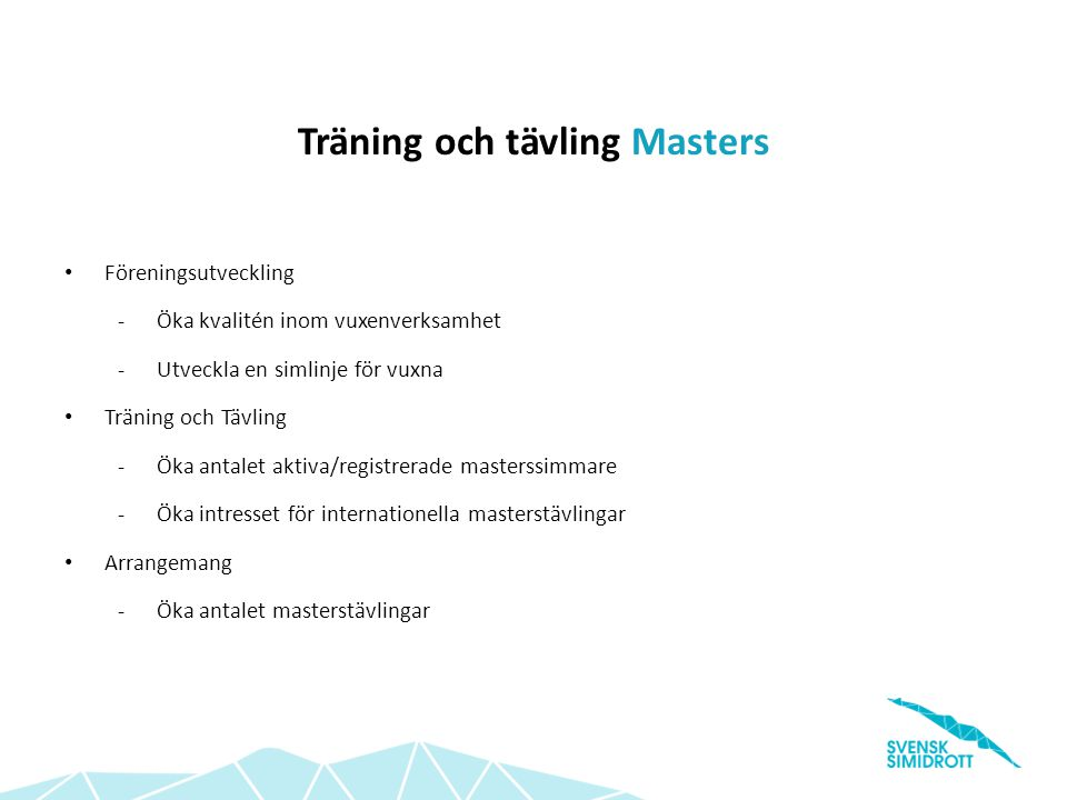 Träning och tävling Masters