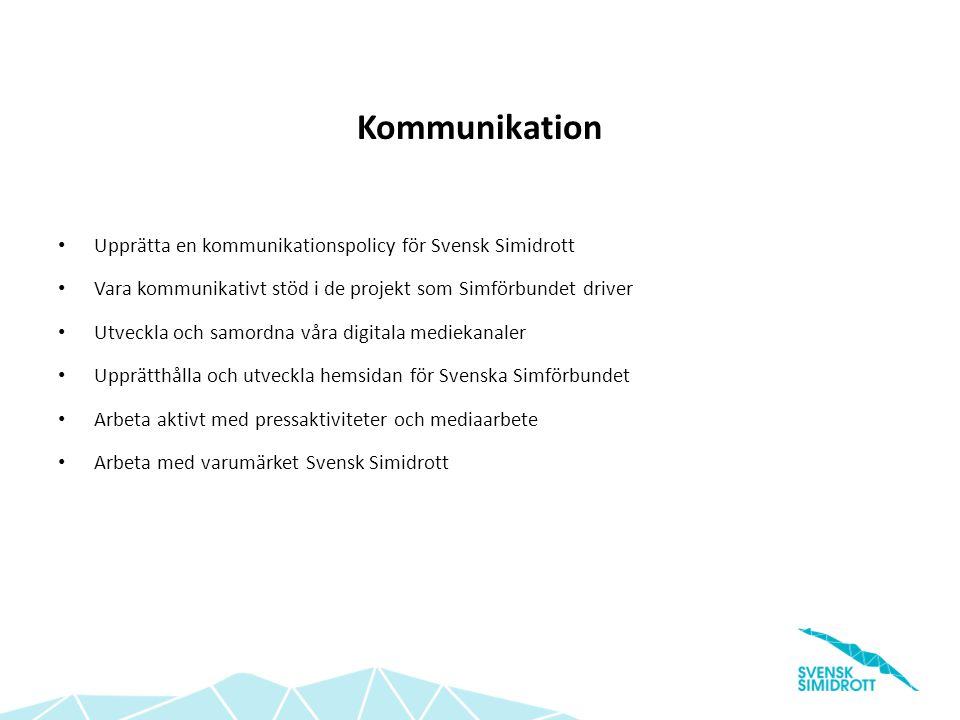 Kommunikation Upprätta en kommunikationspolicy för Svensk Simidrott