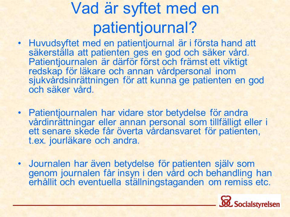 Vad är syftet med en patientjournal