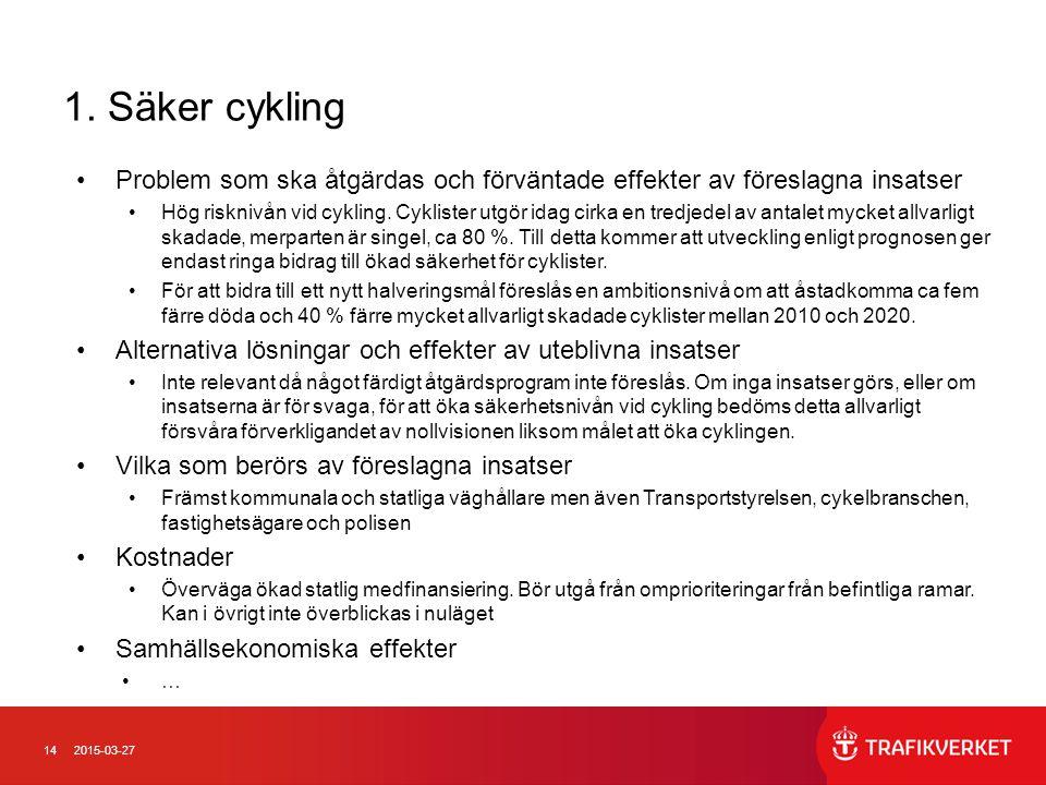 1. Säker cykling Problem som ska åtgärdas och förväntade effekter av föreslagna insatser.