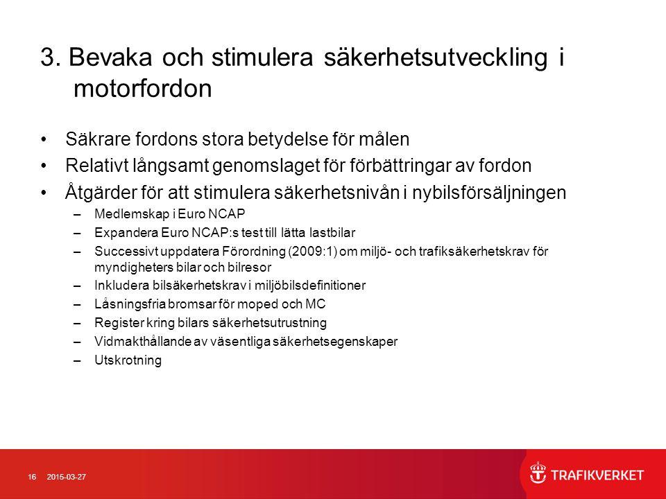 3. Bevaka och stimulera säkerhetsutveckling i motorfordon