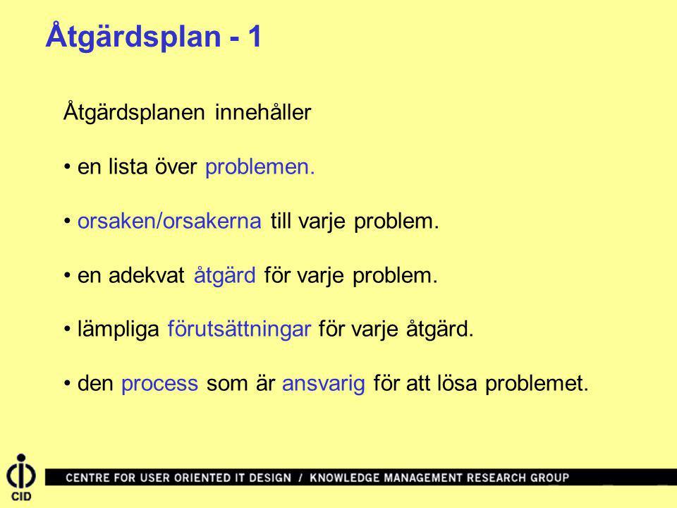 Åtgärdsplan - 1 Åtgärdsplanen innehåller • en lista över problemen.