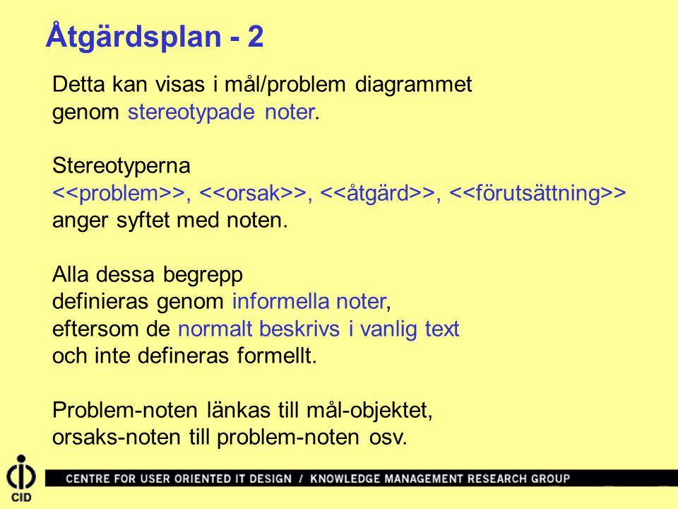 Åtgärdsplan - 2 Detta kan visas i mål/problem diagrammet genom stereotypade noter. Stereotyperna.