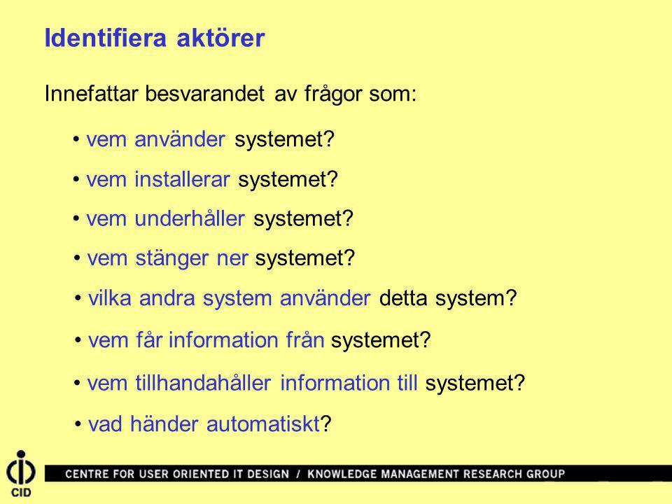 Identifiera aktörer Innefattar besvarandet av frågor som: