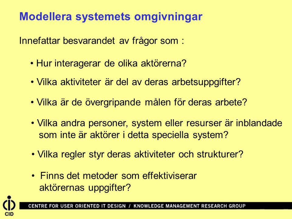 Modellera systemets omgivningar