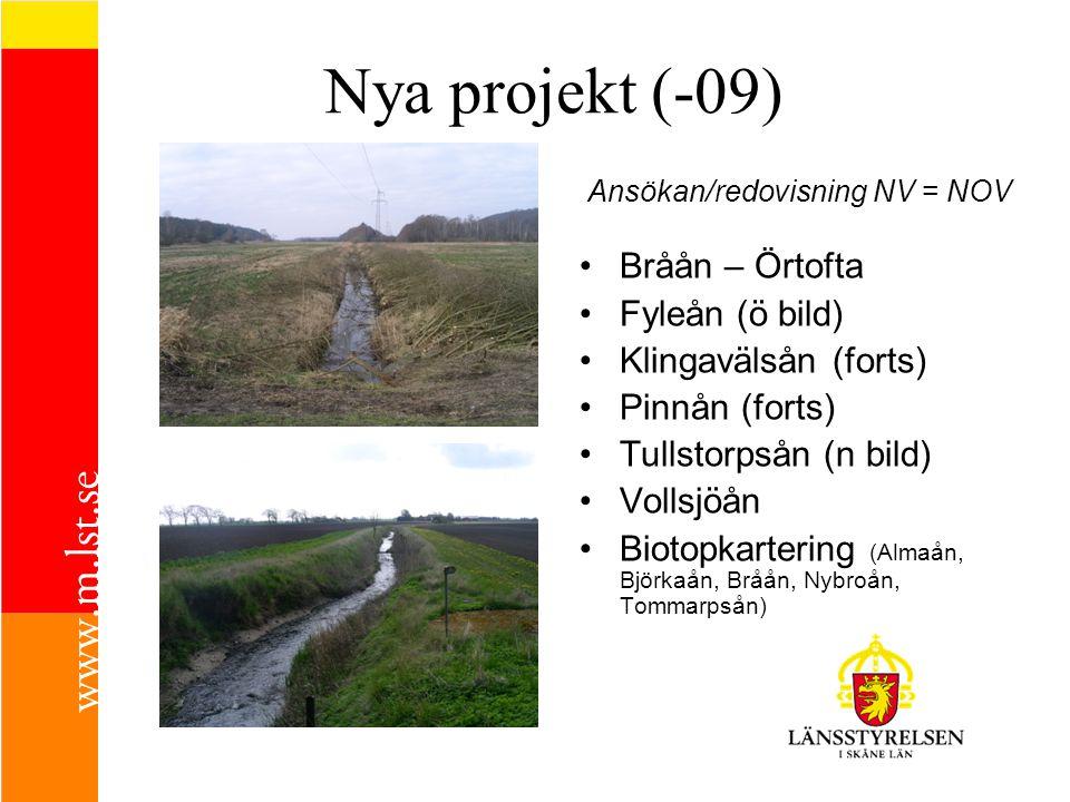 Nya projekt (-09) Bråån – Örtofta Fyleån (ö bild) Klingavälsån (forts)