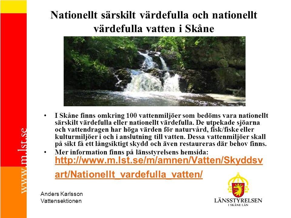 Nationellt särskilt värdefulla och nationellt värdefulla vatten i Skåne